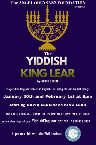 The Yiddish King Lear by Jacob Gordin - Starring David Serero as King Lear