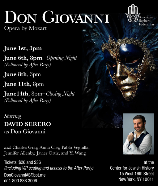 DON GIOVANNI coming Off-Broadway starring David Serero as Don Giovanni