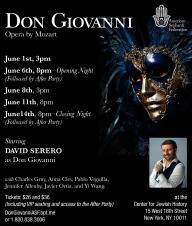 DON GIOVANNI coming Off-Broadway starring David Serero as Don Giovanni