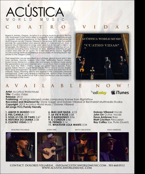 Cuatro Vidas Info Sheet by Acústica World Music