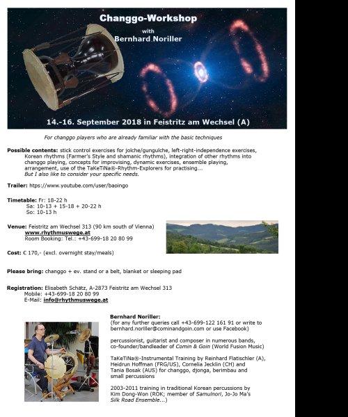 Changgo Workshop with Bernhard Noriller (14.-16. Sept. 2018) by Comin & Goin