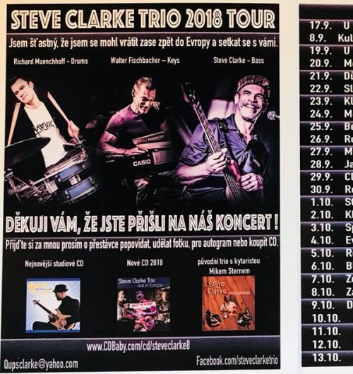 2018 Tour Czech Republic, DE , Sk by Steve Clarke Trio