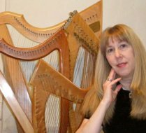 Star Edwards with her Celtic Harps