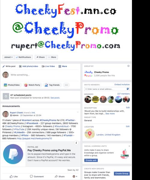Cheeky Promo Facebook group