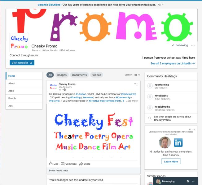 Cheeky Promo LinkedIn