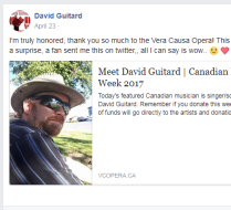 Featured by the Vera Causa Opera during Canadian Music Week 2017!
